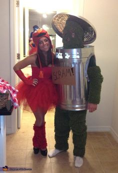 Pin for Later: 100 Creative Couples Costume Ideas Elmo and Oscar the Grouch Source: Costume Works