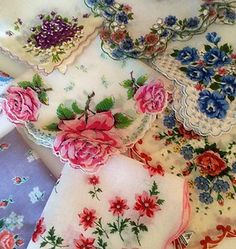 Vintage Hankies.  My grandma always carried one of these in her purse. I still have several she kept in her jewelry box.