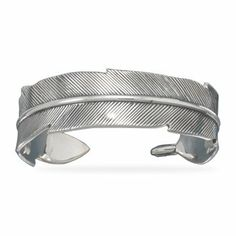 23112 Oxidized sterling silver feather design cuff bracelet. The cuff is 17mm wide. .925 Sterling Silver bracelet circle stone precious metal girl woman lady arm hand beuatiful gift present stars | Love yourself