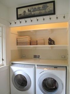 w/d in closet, cabinet instead of top shelf, hang side or upper ...