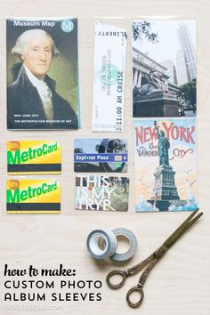 How to create custom photo sleeves for odd shaped memorabilia from vacations or old photos. @polkadotchair @wermemorykeepers #wrmkfuse