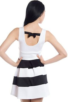 Take a Chance and Dance Bow Back Colorblock Techno Dress - White from April at Lucky 21