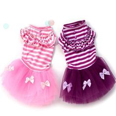 This beautiful ballerina Tutu dress is loaded with cute details like ribbons, buttons, and ruffles.  The cotton top has easy stretchable neck and leg hemmed holes. The tutu skirt extends from the sides and over the back leaving the underside open to avoid having the skirt drag on the ground as the dog walks.