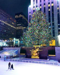 Ice skating at Rockefeller Center, at Christmas.