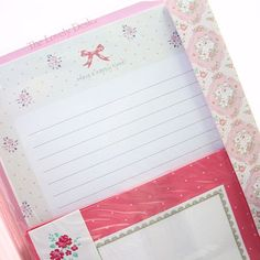 Girly Pink Letter Writing Set with Envelopes & Label Stickers Set - envelope, seal sticker labels, flowers bows floral girlish