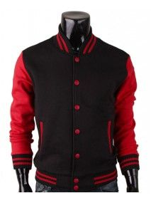 5d72e215d2a7 Baseball Letterman Red and Black Varsity Jacket Leather Coats