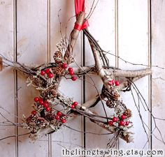 Nordic Birch Star  Winter Wreath  Christmas by TheLinnetsWing, $64.00