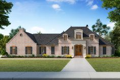 This very special 4 bedroom French Country home plan was designed with wide, open spaces accented by brick arches.From the huge island in the gourmet kitchen you can see fireplaces in both the keeping room and the family room.Send the kids back to the rear game room or theater room where you won't hear the noise!Guests have their own suite apart from the rest of the home.The master suite is ultra-luxurious with its own exercise room and a huge walk-in shower.The 3-car garage is in keeping…