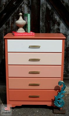 Burnt Coral Ombre Dresser by FunCycled
