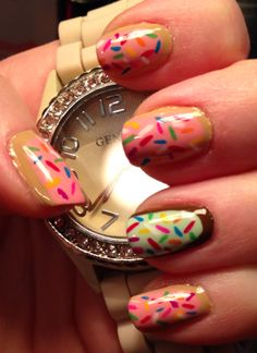 Frosted Donut Ruffian nails with Rainbow Sprinkles
