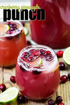Do you like a punch with a kick? Try this Cranberry Pineapple Punch, the PERFECT holiday go to party cocktail! #ad