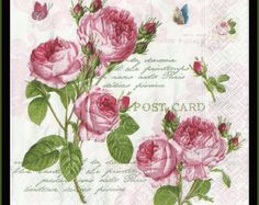 4 x Single Luxury Paper Napkins for Decoupage and Craft Vintage Romantic Roses Decoupage Vintage, Decoupage Glass, Paper Napkins For Decoupage, Art Vintage, Vintage Paper, Vintage Prints, Vintage Cards, Napkin Rose, 2 Clipart