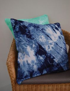 Indigo blue abstract pattern dyed cushion cover