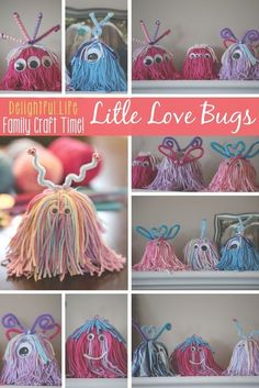 LITTLE LOVE BUGS? LOVELY LITTLE MONSTERS?  We couldn't decide what to call them, but we couldn't stop making these charming little critters! This is such a fun craft idea for the entire family. Some yarn and a few decorations and you've got yourself the perfect craft for Valentine's Day... or any day! via @jenniferkaufman