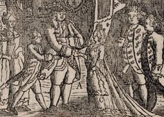 """Detail of an 18th century print, entitled """"The Arrival of Madame la Dauphine in the forest of Compiègne"""". It shows Louis XV presenting Marie Antoinette to her new husband, the future Louis XVI, 18th century"""