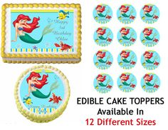 ARIEL LITTLE MERMAID Edible Cake Image Cupcake Topper Quarter Half 12 Sheets Sizes Available