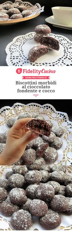 Biscottini morbidi al cioccolato fondente e cocco Italian Cake, Italian Cookies, Italian Desserts, Italian Recipes, Biscotti Cookies, Galletas Cookies, Candy Cookies, Easy Delicious Recipes, Sweet Recipes