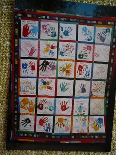 Memoryquilt for an 18th birthdays: hands united and best wishes from around the  world!