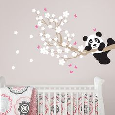 In An Instant Art ships worldwide, our amazing panda bear cherry blossom tree wall decals are great! Offered in custom colors, design your room today!
