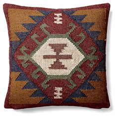 Kilim 20x20 Wool-Blend Pillow, Burgundy | The Collected Cabin | One Kings Lane