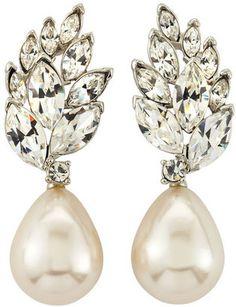 ShopStyle: Kenneth Jay Lane Crystal Cluster Pearl Drop Earrings