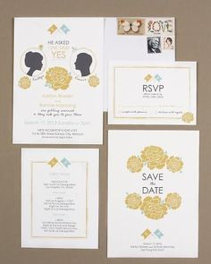 Vintage wedding invitation with profiles