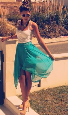 White tank, turquoise skirt, and nude heels. Perfect summer outfit! I