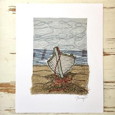 Walmer Boat Original Embroidery Artwork Freehand Machine Embroidery, Free Motion Embroidery, Machine Embroidery Applique, Embroidery Art, Fabric Cards, Fabric Postcards, Fabric Book Covers, Chicken Scratch Embroidery, Creative Textiles