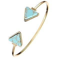 Amazon.com: Susenstone Retro Stylish Open Bangle Triangle Marble Turquoise Stone Cuff Bracelet (Blue): Jewelry
