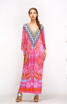 NEW CAMILLA FRANKS JERSEY STRETCH BATWING SLEEVE V NECK KAFTAN DRESS