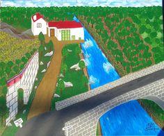 A Ponte, o rio, o aqueduto e o lagar - Pintura em acrílico s/tela Lagar, Rio, Fair Grounds, Travel, Tela, Drawings, Paintings, Viajes, Destinations