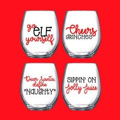 Funny Christmas Wine Set *HOW MANY GLASSES COME IN A SET? 4 glasses come in the set *HOW LARGE ARE THE GLASSES? Wine glass hold 15 oz of wine and is a very sturdy glass. *HOW SHOULD I WASH MY GLASS? The wine glasses are made from high quality outdoor vinyl. The vinyl decal will have