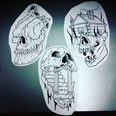 Skulls all day every day !  #drawing #tattoo #tattoos #neotrad #trad #art #cartoonart #flashsheet #tattooartist #japanesetattoos #neotraditional #neotraditionaltattoo #neotraditionaltattoos #traditionaltattoo #traditionalink #traditionaltattoos #darkart  #whip  #oldschooltattoo #oldschool #whip #tattodesign #blacktraditional #blacktrad #skulls #skeletontattoo #skulltattoo