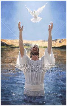 Jesus after being baptized with a white dove flying above him.