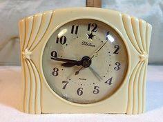 Vintage Telechron Electric Alarm Clock Art Deco Bakelite Theatre Curtain Stars | eBay