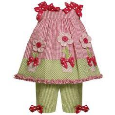 Amazon.com: Bonnie Jean Baby/NEWBORN 3M-9M 2-Piece PINK GREEN BUTTON-CENTER FLOWER POT APPLIQUE SEERSUCKER DRESS/CAPRI Spring Summer Outfit Set: Clothing