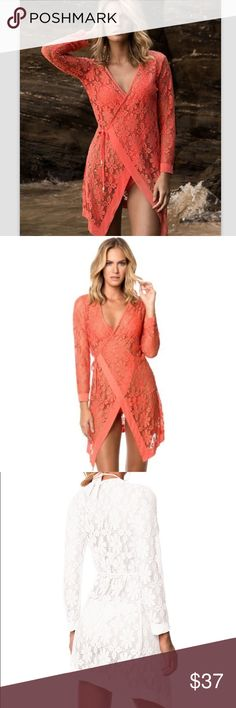 Coral Crochet Swim Cover Up - OS Lace Crochet wrap around swimsuit cover up in coral color. Made of polyester, lace blend. One size fits most Available in CORAL only  Bust: 40.95'' Sleeve:22.44'' Length: 29.92'' - one size fits most B Chic Boutique Swim Coverups