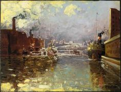 Fortin, Marc-Aurèle  Sainte-Rose, 14 March 1888  Macamic, 2 March 1970  Chicago River  1909  Oil on cardboard Nice Art, Cool Art, Chicago River, Canadian Art, Art Studies, Bridges, Rose, Painters, Artists