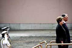 LesPrésidentsdu #BrésilDilma Rousseffet du PortugalAnibal Cavaco Silvaarriventau Palais national de Belem à #Lisbonne, le 10 juin.