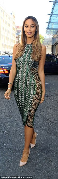 Stunning: Singer and Xtra Factor judge Rochelle Humes showed off her hourglass figure in a green crocheted number at the Julian Macdonald show for LFW on Saturday