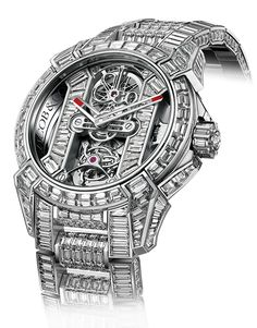 <p>Powerful, sporty or rather simply sculpturesque, the Epic X is the modern version of the traditional art of watchmaking. This reinterpretation of classic horology gives out the best of technical craftsmanship. To the Epic X's already outstanding skeleton movement design is added the tourbillon, the ultimate complication. Set with 121 baguette cut gems, with an 18K Gold case, this watch is a treat for the eye.</p>