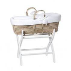 Woven moses basket and wooden stand  Tartine et Chocolat