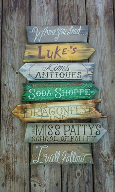 Gilmore Girls Direction sign. Hand crafted and hand painted. Designed to look as it was taken right from the world of Gilmore Girls. Slightly weatherd look brings caricature to the creation. Made to order. Makes a great gift. Great for entry ways or any room for that matter. Approximately 30in x 17 in.  Note; Please keep in mind that I do all I can to get your order to you quickly. However production time may vary depending on current back log. If you have time constraints please let me…