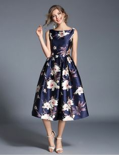 1950s Vintage Style Simply Irresistible Floral Print Midi Dress
