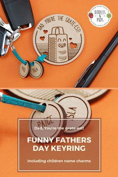 """Give your Dad a unique gift this Father's Day and let him know how """"GRATE"""" he is! 🔑 The keyring is made from draft board which that the keyring remains light in weight and won't weigh down Dad's pocket.The keyring can be made even more unique with the addition of small personalised charms. These charms are a great way to feature your child(ren's) names, and for Dad to always carry them close to him 💕 Fiance Birthday Card, Best Friend Birthday Cards, Funny Fathers Day, Fathers Day Gifts, 50 Wedding Anniversary Gifts, Mr And Mrs Wedding, Gifts For Husband, Etsy Store, Personalized Gifts"""