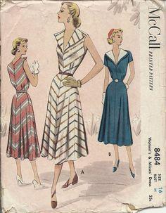 50s Dress Vintage Sewing Pattern 1950s McCall 8484 Ladies Misses Sleeveless Dress 34 Bust Item 7-117