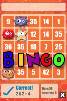 Math Bingo App for the iPad - Great for practicing addition, subtraction, multiplication & division.  Well worth 99 cents!