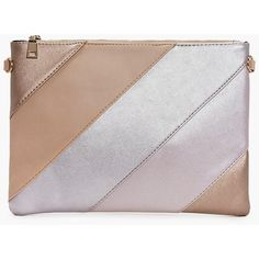 Boohoo Rose Panelled Metallic Zip Top Clutch Bag   Boohoo ($10) ❤ liked on Polyvore featuring bags, handbags, clutches, multi, strap purse, metallic purse, zip purse, zipper purse and zip top handbags