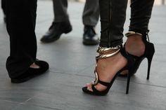 #black #gold #straps #heels #stilettos