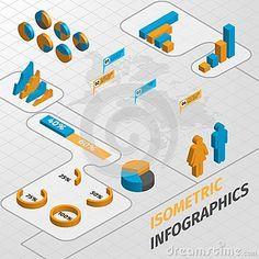 Isometric business infographics design elements
